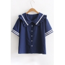 Cute Navy Collar Contrast Striped Printed Buttons Down Short Sleeve Shirt
