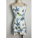 Summer Collection Pineapple Printed Spaghetti Straps Hollow Out Back Sleeveless Mini Cami Dress