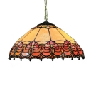Vintage Design 2-Light Ceiling Fixture with Cone Shaped Glass Shade in Tiffany Style, 16-Inch Wide