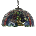 2 Light Fruit Theme Hanging Pendant with Colorful Dome Glass Shade and Metal Chain, 18-Inch Wide