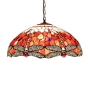Multi-Colored Dragonfly Pattern Glass Shade Tiffany Vintage 20