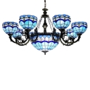Indoor Inverted Hanging Chandelier with Sky Blue Stained Glass Shade