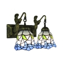 Belle Supported 2 light Bell Shaped Wall Sconce with Blue Flower and Green Leaf Pattern in Tiffany Style