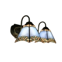 Vintage Tiffany 2 Light Double Wall Sconce with Art Glass Shade in Blue, 16-Inch Wide