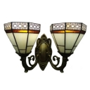 2 Light Inverted Stained Glass Wall Sconce with 16