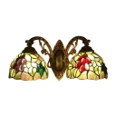 European Tiffany Style Fruit&Leaves 2 Light Wall Sconce in Antique Bronze Finish