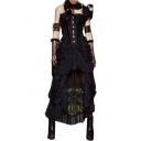 Unique Cool Ruched Lace Asymmetric Hem High Low Skirt