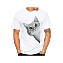 Comic Lovely Cartoon Cat Printed Round Neck Short Sleeve Tee