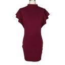 High Neck Ruffle Short Sleeve Plain Keyhole Back Midi Pencil Dress