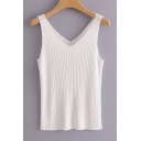 V Neck Ribbed Sleeveless Plain Slim Tank