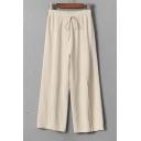 Drawstring Waist Plain Wide Leg Knit Pants