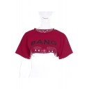 Crop BANG Letter Printed Round Neck Short Sleeve Tee