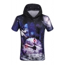 Stylish Hand Clock Galaxy Printed Short Sleeve Hooded Tee