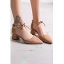 Ladylike Elegant Plain Ankle Tied Mid Heel Women's Shoes