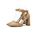 Ladylike Ankle Buckle Tied Detail Plain High Block Heel Pointed Shoes
