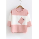 New Arrival Color Block Round Neck Short Sleeve Tee with Pocket