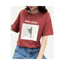 Lovely Cat Letter SEE YOU Print Round Neck Half Sleeves Casual Tee