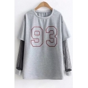 Sportive Number Print Patchwork Layered Long Sleeve Spring Fashion Tee