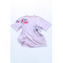 Women's Fashion Floral Embroidery Round Neck Short Sleeves Summer T-shirt