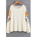 Vogue Floral Embroidered Round Neck Long Sleeve Pullover Loose Sweatshirt
