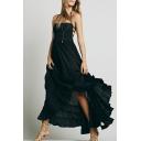Bohemia Style Plain Halter Hollow Out Back Sleeveless Maxi Cami Beach Dress