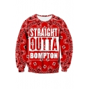 Fashion Pattern Letter Printed Round Neck Long Sleeve Pullover Sweatshirt