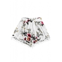 Pom Pom Embellished Floral Printed Elastic Waist Loose Shorts
