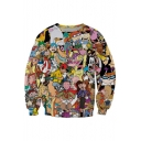 Pop Fashion Cartoon Character Print Round Neck Long Sleeves Pullover Sweatshirt