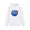 NASA Letter Planet Printed Leisure Long Sleeve Hoodie with Pocket