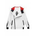NOTHING IS TRUE Letter Graphic Print Zip Up Long Sleeve Hooded Color Block Jacket