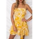 Holiday Leaf Printed Spaghetti Straps Sleeveless Ruffle Detail Tied Waist Mini Cami Dress