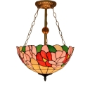Floral Theme Tiffany Inverted Pendant Light Fixture with Bowl Shade, 15.75