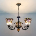 Victorian Style Upward Bell Design 3-Light Chandelier with Colorful Glass Shade