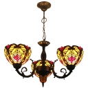 3-Light Tiffany Style Baroque Chandelier with Stained Glass Shade