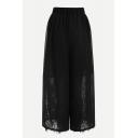 Leisure Elastic Waist Lace Insert Wide Leg Crop Pants