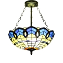 Vintage Baroque Tiffany Style Colorful Stained Glass Semi Flush Mount Ceiling Light, 16