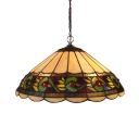 Vintage Design 14-Inch Wide Pendant Light with Conical Glass Shade in Multicolor Finish, Tiffany Style