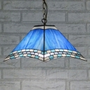Blue Shade with Tiffany Art Glass 2-Light Ceiling Pendant Fixture in Nautical Style, 16-Inch Wide