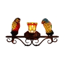 Double Light Wall Sconce with Tiffany Style Colorful Parrot Shaped Shade, 25