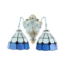 Double Light Wall Sconce in Mediterranean Style with Tiffany White and Blue Stained Glass Shade, 9.4-Inch Wide