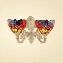Blue Dragonfly Tiffany Wall Sconce with 14-Inch Wide Red Stained Glass Shade, 2-Light