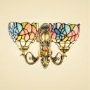 Colorful Tiffany Style Wall Lamp, 14-Inch Wide Glass Shade with Hummingbird and Flower Pattern, 2-Light