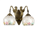 2-Light Belle Armed Wall Sconce with Stone Pattern Shade in Tiffany Style, Bronze Finish, 18