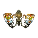 Tiffany Design Upward Wall Lamp in Baroque Style with Colorful Glass Shade, 2-Light