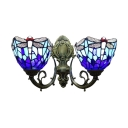 2 Light Double Wall Sconce with Tiffany Style Dragonfly Pattern Glass Shade in Colorful, 16-Inch Wide