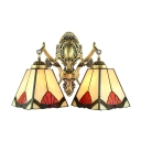 Tiffany European Style 2-Light Wall Sconce with Handmade Glass Shade, 14-Inch Wide