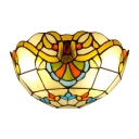Classic Victorian Tiffany Style Hallway Two Light Wall Sconce with Bowl Shaped Handmade Glass Shade, Multi-Colored, 12-Inch Wide