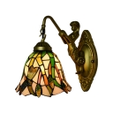 Dragonfly Bell Design Wall Lamp with Colorful Glass Shade, 8