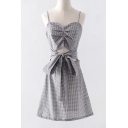 Plaid Printed Spaghetti Straps Sleeveless Hollow Out Bow Tied Front Mini Cami Dress
