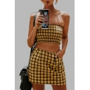 Plaid Printed Strapless Crop Bandeau with Mini A-Line Skirt
